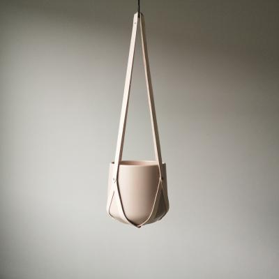 Leather plant hanger beige | Minimalistic design